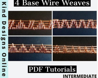 4 Base wire Weaving Tutorial - Learn to Wire Wrap - DIY Weave PDF Book - wire wrapWire wrap Tutorial - Intermediate How To Instructions -