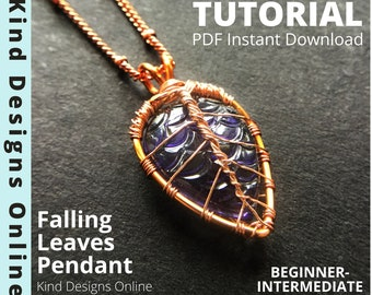 Fall Leaf Necklace tutorial wire weave tutorial Beginner Jewelry making Wire Wrapping techniques How to Wire Wrap Cabochon tutorial Teardrop
