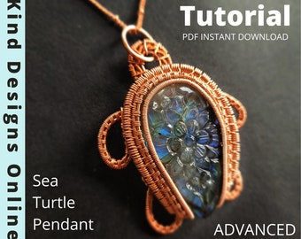 Sea Turtle Pendant Tutorial Wire Weave Tutorial Necklace Animal Jewelry Wire Wrapping Tutorial Wire wrap Jewelry Tutorial Wire Turtle DIY <3