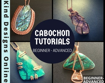 Wire wrap Cabochons Tutorial Bundle PDF digital Download Beginner Tutorial Intermediate Tutorial Advanced Tutorial Wire jewelry Craft kit <3