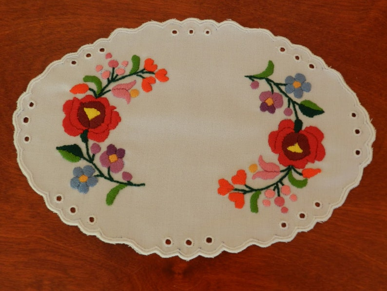 Hand made doily Hole embroidery Kalocsa embroidery doily Decor accessories Hungarian folk art