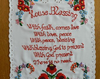 Embroidered House Blessing with Kalocsa motif, Hungarian house blessing, Házi Áldás