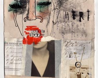 Here - Original Mixed Media Illustration / Collage