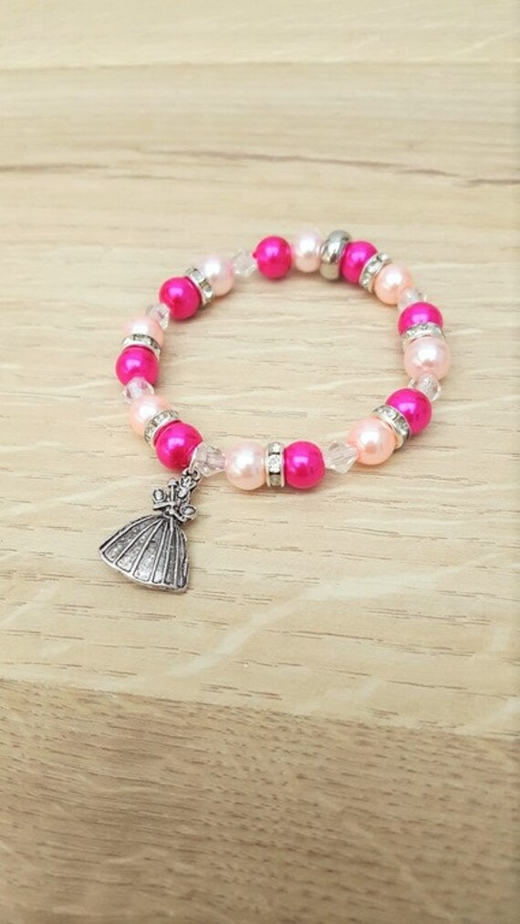 3c932764677d9 Princess Bracelet, Pink Girls Bracelet, Stretch Beaded Bracelet, Princess  Jewelry Jewellery, Princess Charm Bracelet, Kids Jewelry, Princess