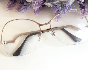 841667eb03 Gold Half rim eyeglass Large Vintage Glasses Retro Square Glasses Hipster  glasses Drop temple Low arm Eyeglass 80s Big Spectacle Frame Cool