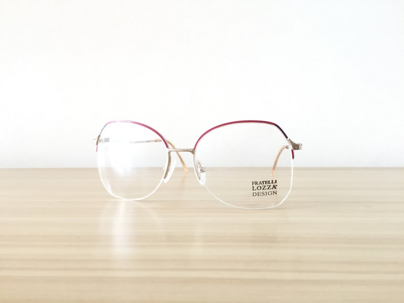 6ed4973721 Red Gold Eyeglasses Fratelli Lozza Oversized Round Eyeglasses