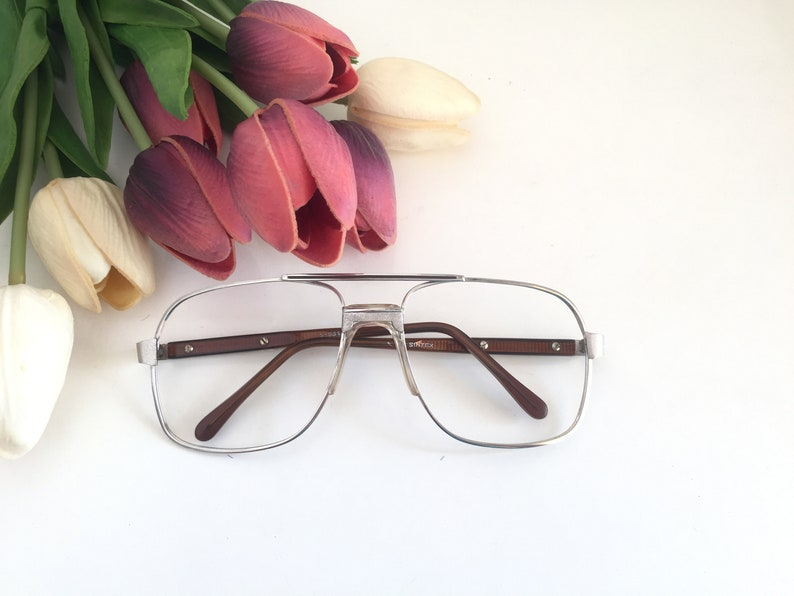 1adc30566ac Silver Square Eyeglass Frame Oversize Silver Eyeglasses Large