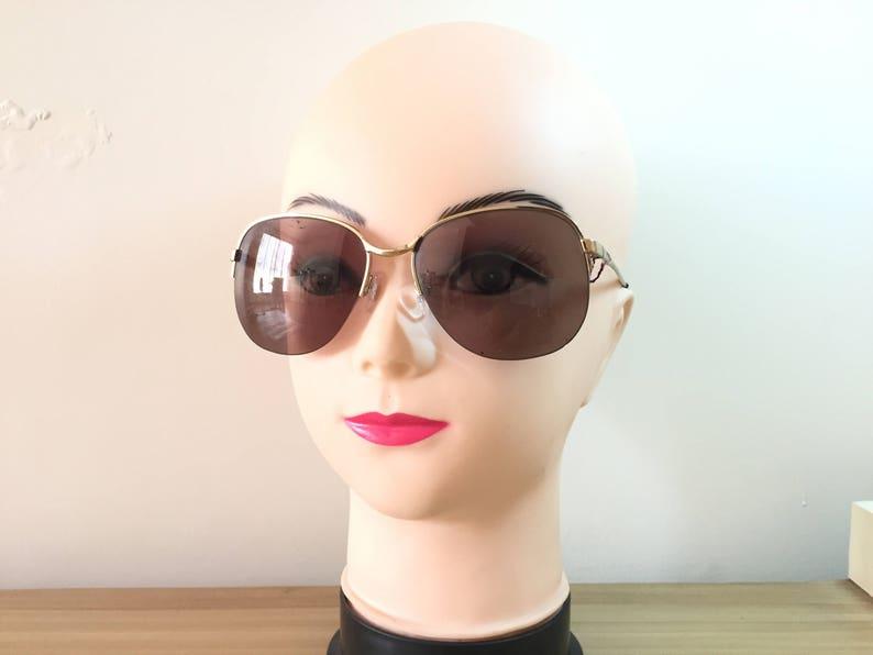 6427d151189f Vintage Gold Sunglasses Large Round Sunglass Papillon   Etsy