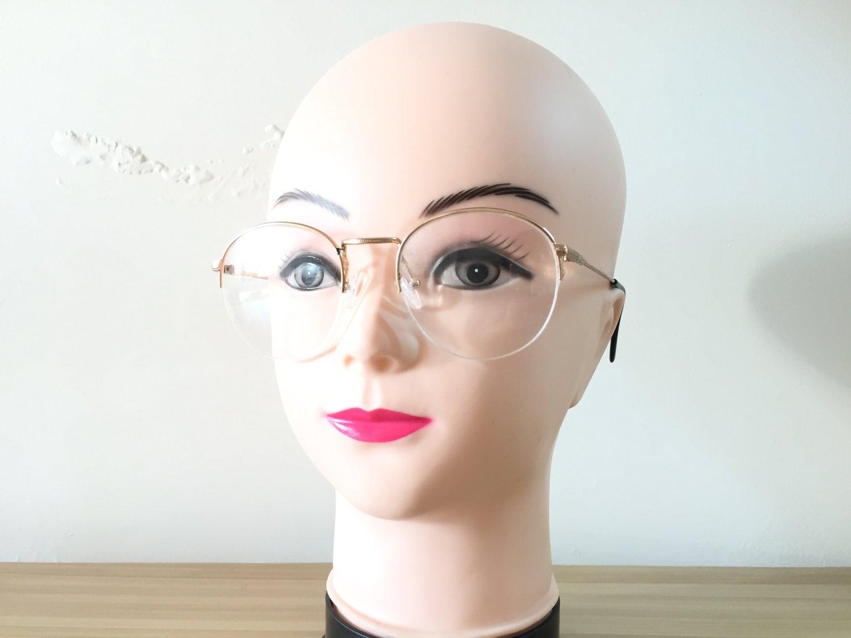 Runde Brille Gold Gläser halb Rand Brille Retro Brillen Rahmen