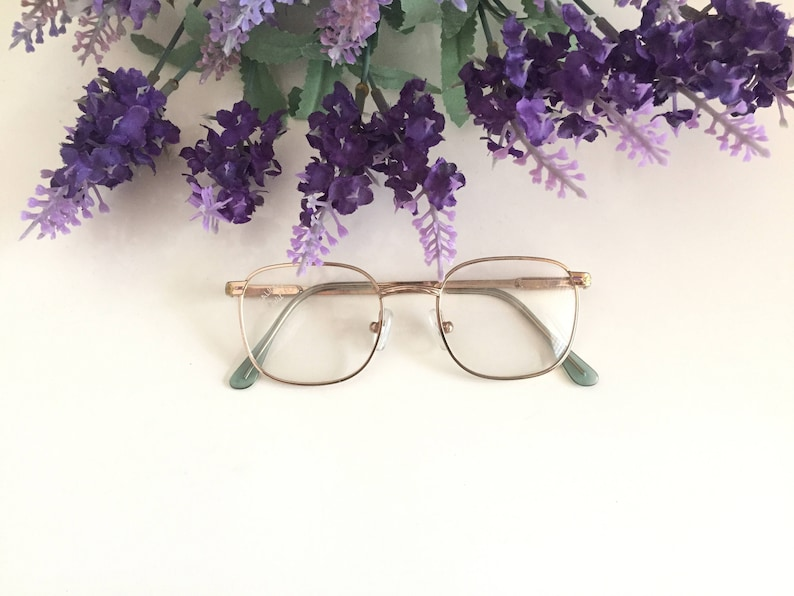 219c77e4825 Small Gold Eyeglasses Vintage Galileo glasses Square