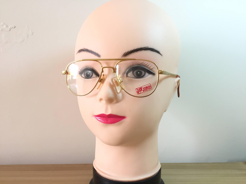Pilotenbrille Gold Rahmen goldene Brille Gläschen Vintage   Etsy