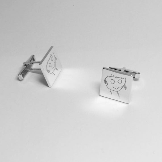 Personalised Sterling Silver Doodle Cuff Links Customised Men/'s Jewellery Created From Your Child/'s Drawing