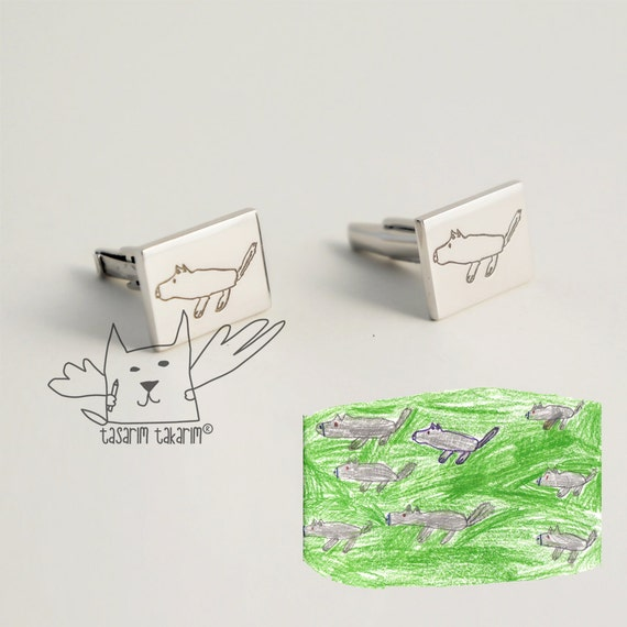 Christmas Present Drawings.Christmas Gift For Him Personalized Silver Cufflinks From Your Child S Drawings Gift For Him