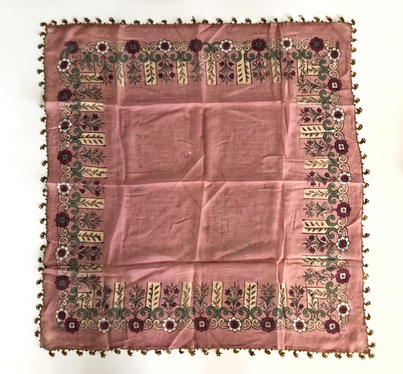 Antique Pink Scarf Foulard with Crochet Edges,Anti