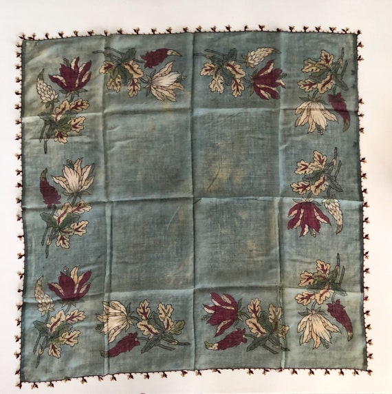 Antique Blue Scarf Foulard with Crochet Edges,Anti
