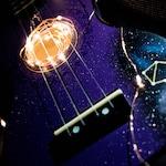 Starchild Ukulele | Zodiac Star Sign Galaxy Glitter  | Hand Painted Ukuleles personalised by Coral Flamingo