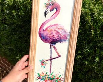 Floral Flamingo   Print   Original Painting by Coral Flamingo