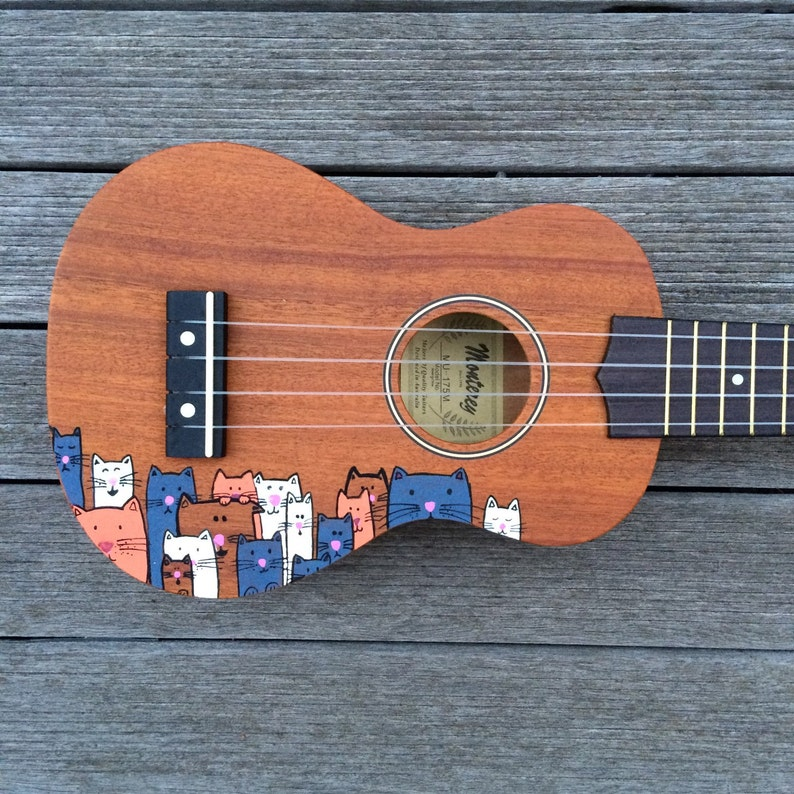 Crazy Cat Lady Ukulele  Hand Painted ukuleles personalised by image 0