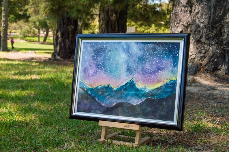 Galaxy  Print  Watercolour Painting by Coral Flamingo image 0