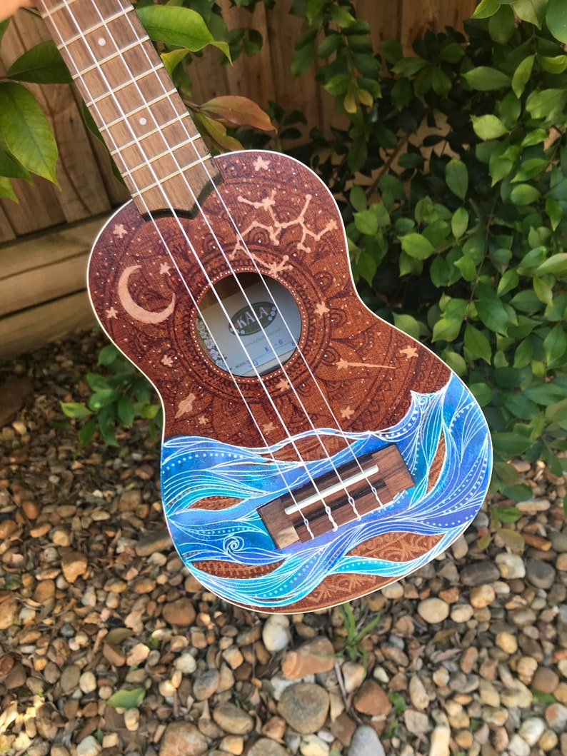 In The Night Garden  Zodiac Star Sign  Hand Painted ukuleles image 0