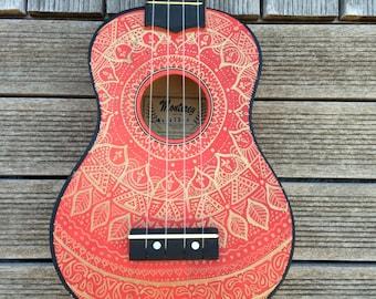 Mandalele | FRONT | Hand Painted ukuleles personalised by Coral Flamingo