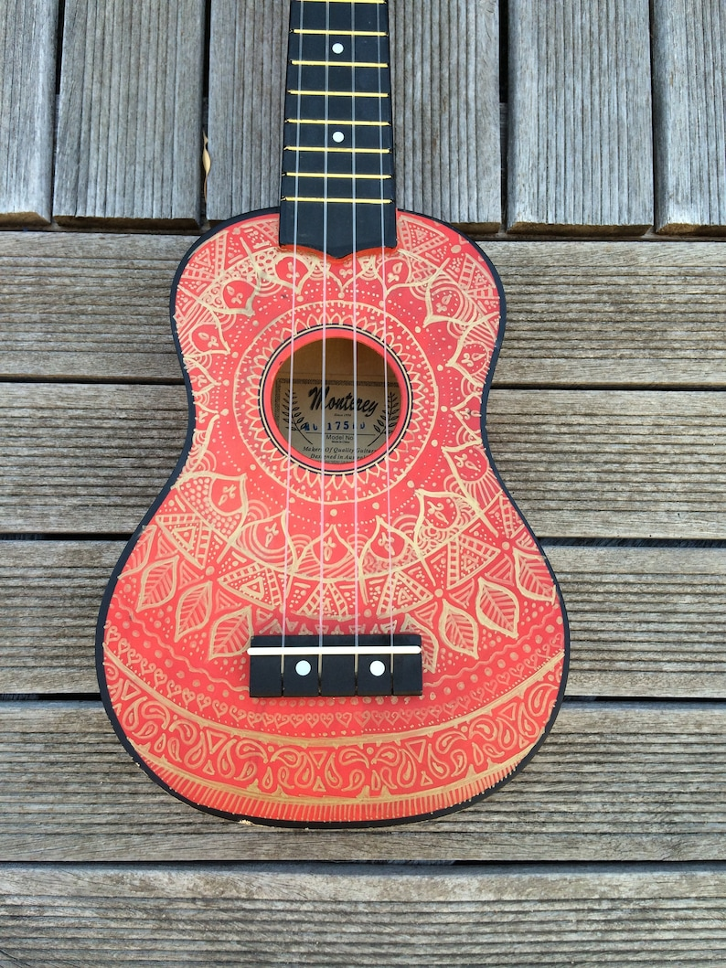 Mandalele  FRONT  Hand Painted ukuleles personalised by image 0