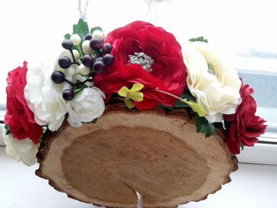 Burgundy white flower crown blush flower crown burgundy mightylinksfo