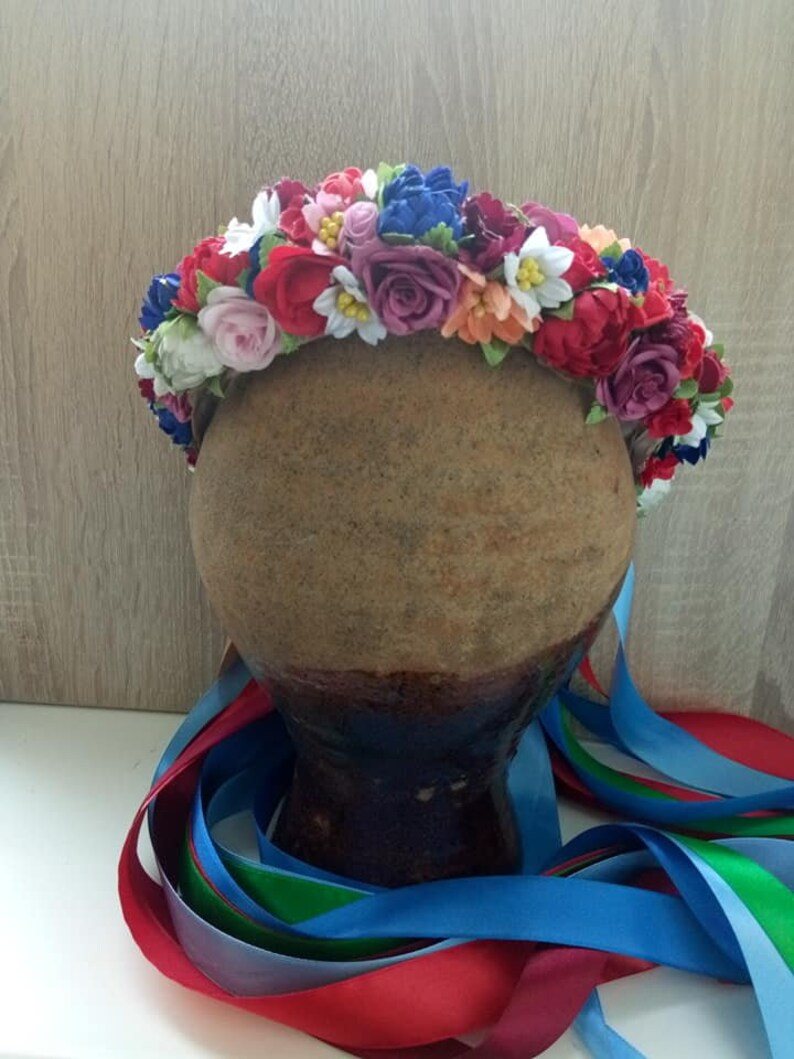 Ukrainian red flower crown Ukraine national hair wreath Bride Ukrainian crown Ukraine bride Ethnic wreath Poppy flower crown Red flowers