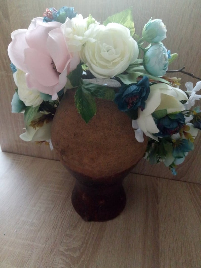 PINK /& IVORY Flower Crown Wedding Dress With Silk Roses Peonies Berry White Flower Crown Wedding Headband Blue Peony Wedding Crowns
