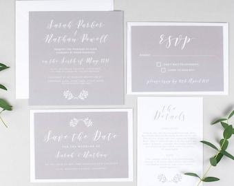 Elegant Grey Wedding Invitation Suite -  Wedding Invite Bundle - Wedding Stationery - Invitation Suite - Elegant wedding invite