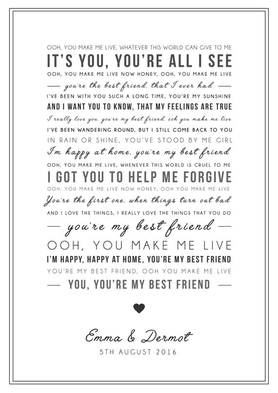 Queen 'You're My Best Friend' Song Lyrics Print - Valentines gift - Queen  Poster - Can be personalised