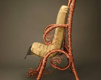 Copper Tree Sculptural Art Chair, One-of-a-Kind