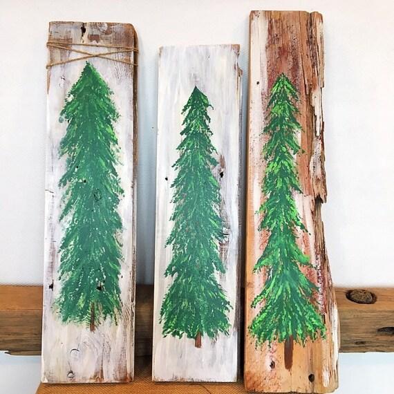 Christmas Tree Painting Wall Decor Pine Tree Wall Decor Christmas Tree Reclaimed Wood Paintings Pine Tree Reclained Wood Wall Decor