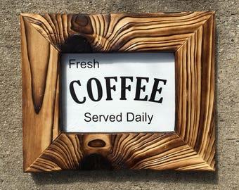 Coffee sign, kitchen decor, Fresh Coffee served daily sign, coffee kitchen decor, white coffee sign, farmhouse kitchen decor,