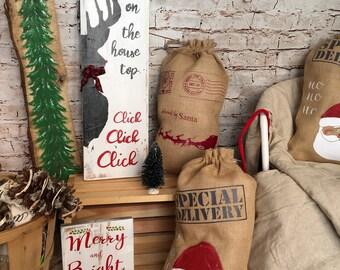 Deer christmas sign, reindeer christmas sign, rudolf christmas rustic wood wall sign, up on the house top holiday sign, rustic christmas