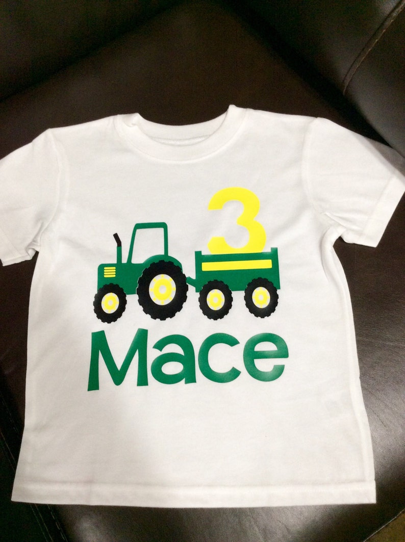 424cdbdd3 Boy's John Deere Birthday Shirt Tractor Birthday Shirt | Etsy