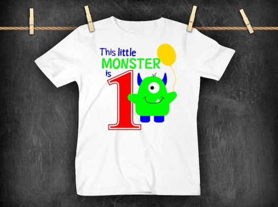This Little Monster Is One Shirt First Birthday