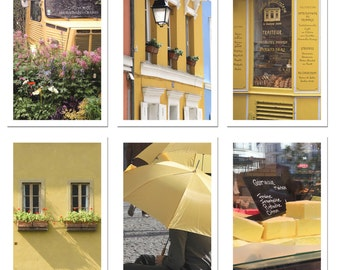 Paris Postcard Set, Yellow 4x6 Prints, Paris Print Art Postcards, Paris Art, Office, Gifts, Paris, Hidden Paris, Student Gift, Parisian
