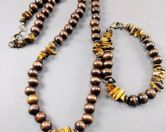 Tiger's Eye & Wood Tribal Necklace Set