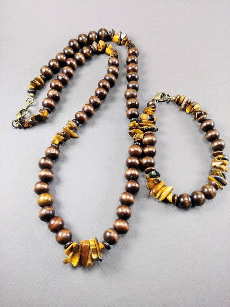 Tiger/'s Eye /& Wood Tribal Necklace Set