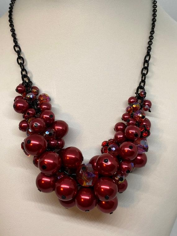 Beautiful JOAN RIVERS Red Raspberry Beaded Pearl N