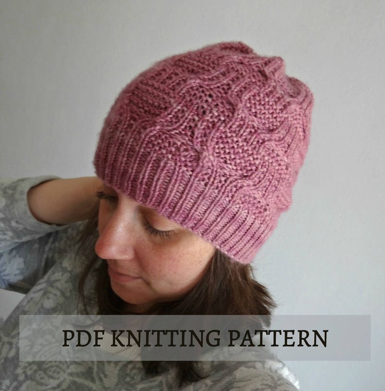 89aef73b131 KNITTING PATTERN  Atenea hat knitted beanie cable hat