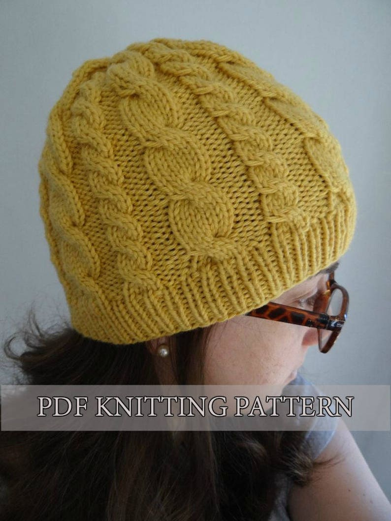 Almost Free Knitting Pattern Easy Cable Hat Knitted Hat Etsy