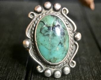 Vintage Navajo (Bell Trading Company) Turquoise/ Sterling Silver Ring    #323