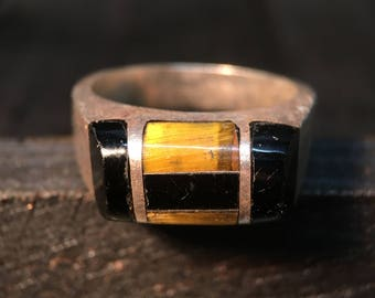 Vintage Marked Sterling Silver/ Onyx & Tiger's Eye Ring    #042