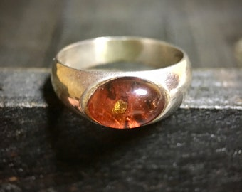 Vintage Sterling Silver Baltic Amber Ring   #346