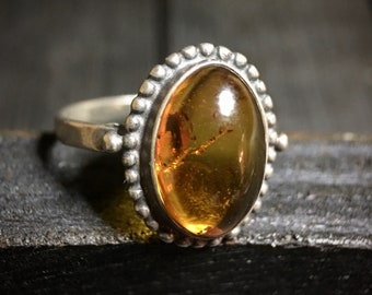 Vintage Sterling Silver Baltic Amber Ring   #344
