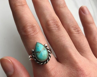 7 8 Turquoise Silver Ring  Leaf Turquoise Ring  Southwest  Natural Turquoise  Everyday Turquoise  Ring for Women  Size 5 10 6 9