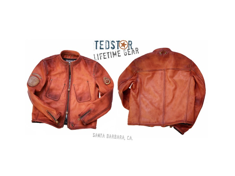 7d5b6093f Leather jacket TEDSTAR / Cowhide top grain leather / Motorcycle style  jacket / Made to order