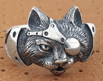 Steampunk Cat Head Ring.Lynx Ring.Cat Ring.Bobcat Ring.Animal Totem.Animal Ring.Lynx Charm.Lynx Necklace.Bobcat Necklace.Bobcat Charm.Cat